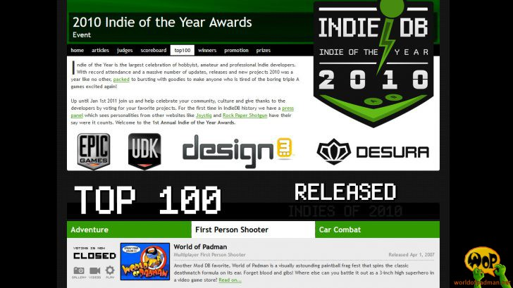 IotY 2010 Awards Top 100 (Quelle: http://www.indiedb.com)