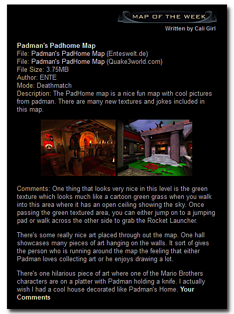 ENTE's PadHome is Map of the Week on quake3world.com
