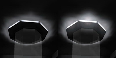 "Light texture without flare (left) and with ""dynamic"" flare (right)"