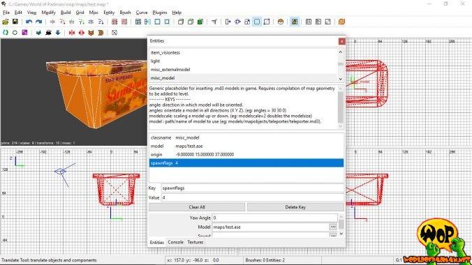 Import des ASE-Mapobjekts über misc_model und erzeugte Lightmap mittels spawnflags 4