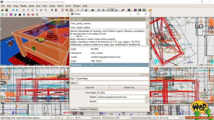 Entity misc_model mit ASE-Format und Key spawnflag 4 für die Lichtberechnung