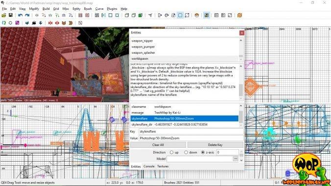 Worldspawn-Keys skylensflare und skylensflare_dir mit Werten im Entities-Inspektor des NetRadiants 1.5